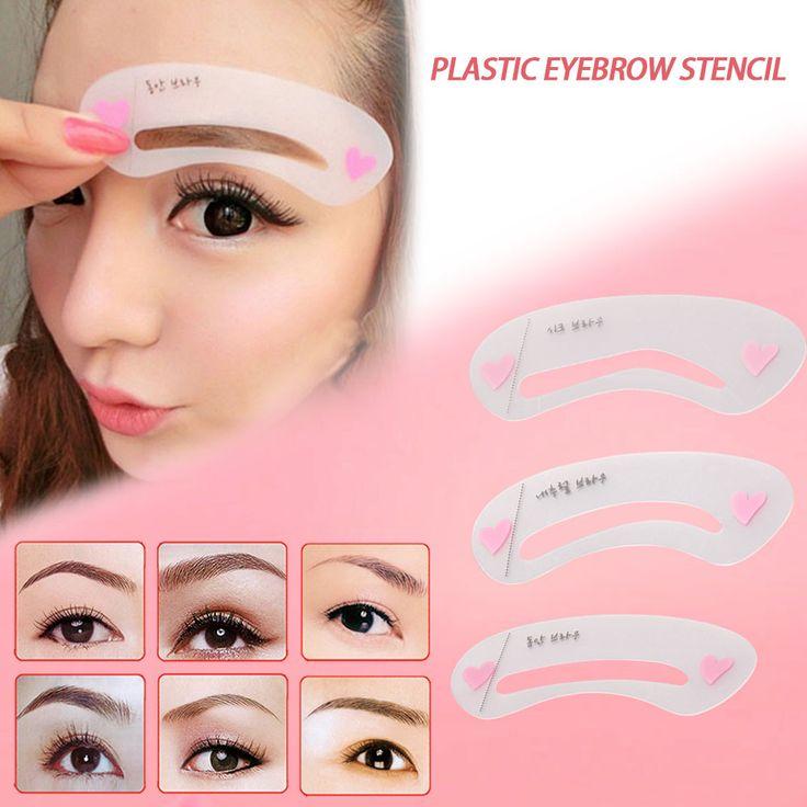 Wholesale 3pcs/Set Maquiagem Profissional Eyebrow Stencil Tool Eye Brow Template Shaper Eyebrow Shaping Beauty Make Up Tool