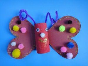 toilet paper roll, craft, butterfly, valentine's day, preschool, homeschool, girl's crafts, toddler, pompom crafts