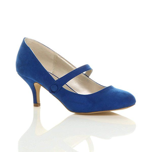 Womens ladies low mid heel mary jane strap work party court shoes size 6 39: Amazon.co.uk: Shoes & Bags