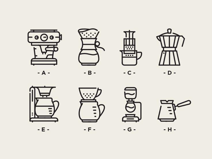 Vienna cofffee brewing icons A- Espresso B- Chemex C- Aeropress D- Moka Port E- Filter F- Vgo G- Syphon H- Turkish