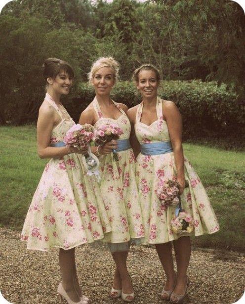 Shabby Chic Wedding Attendant Attire vintage 1950's twirly skirt sweetheart neck floral dresses