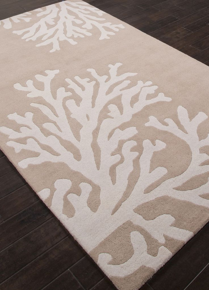 Wool plush luxury for a beach house! We are in love with this Golden Beige and Ivory Coastal Seaside Coral Rug