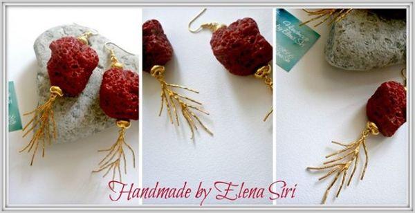 Σκουλαρίκια με επίχρυσα στοιχεία και τεχνητή λάβα... | myartshop