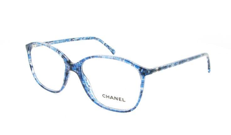 """Optical Center - lunettes de vue Chanel ch 3219 1262 bleu Monture en plastique avec motif """"tissu"""" bleu griffée Chanel sur les branches"""