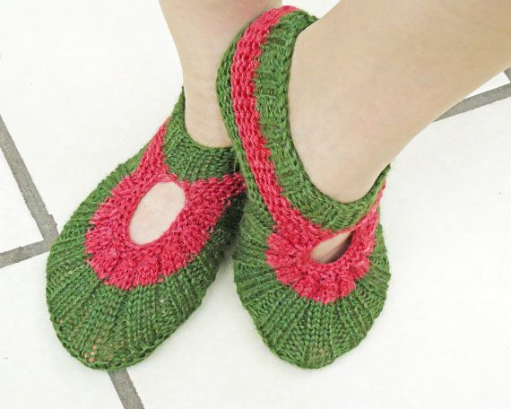 Knitted Socks / Slippers in Green and Burgundy, Hand Knitted Women Winter Home Socks / Slippers, UK Seller on Etsy, $21.51
