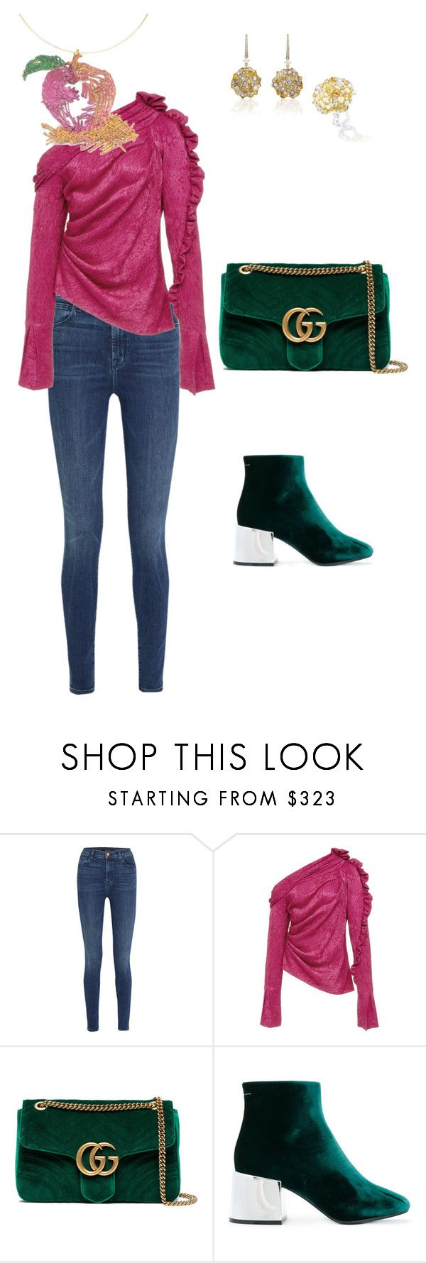 """""""apple sketch necklace, green velvet, denim casual"""" by kathsapeha on Polyvore featuring J Brand, Gucci, Anna Hu and MM6 Maison Margiela"""