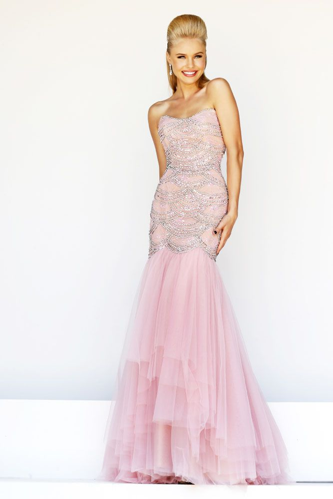 prom dresses 2015   This brilliant strapless, mermaid long tulle prom dress is embellished with beads to add a stylish and opulent look to this creation. The skirt adds a drama effect to your perfect look for a night full of unforgettable moment