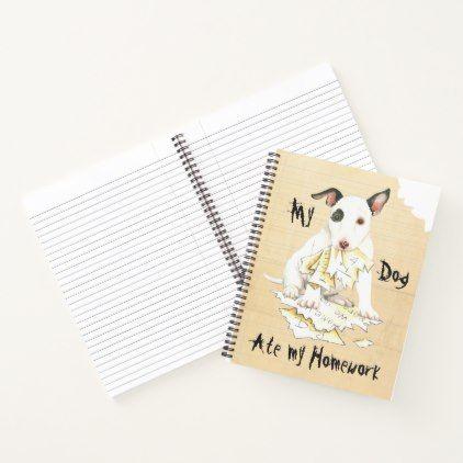 My Mini Bull Terrier Ate My Homework Notebook - dog puppy dogs doggy pup hound love pet best friend