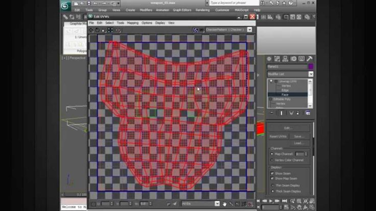 Creating UVs for the Base Geometry of the Game Weapon in 3ds Max