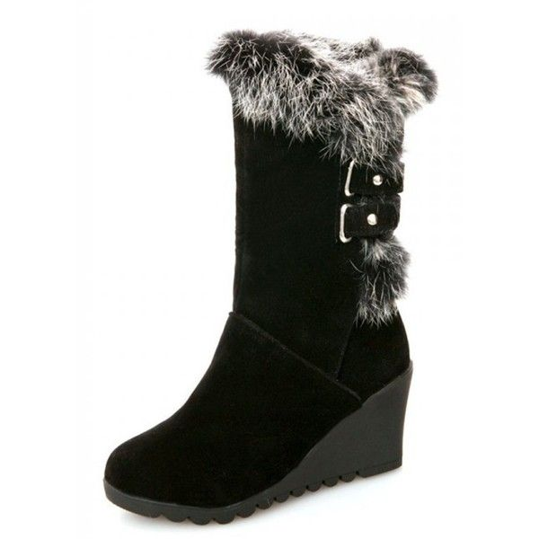 IDIFU Women's Comfy Buckled Faux Fur Lined Wedge Mid Calf Snow Boots... ❤ liked on Polyvore featuring shoes, boots, mid-calf boots, buckle boots, mid calf length boots, faux fur lining boots and wedge sole boots