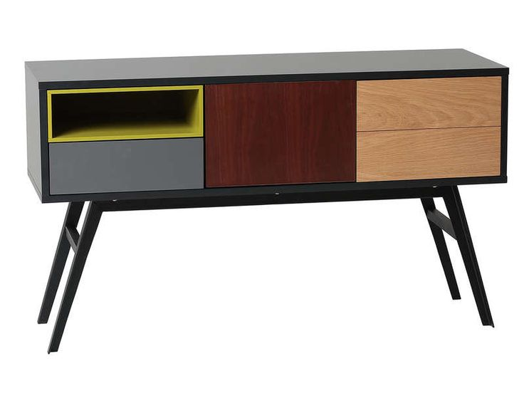 Console 2 portes + 1 tiroir CAYMAN coloris chêne/gris anthracite/noyer/vert - Vente de Console - Conforama