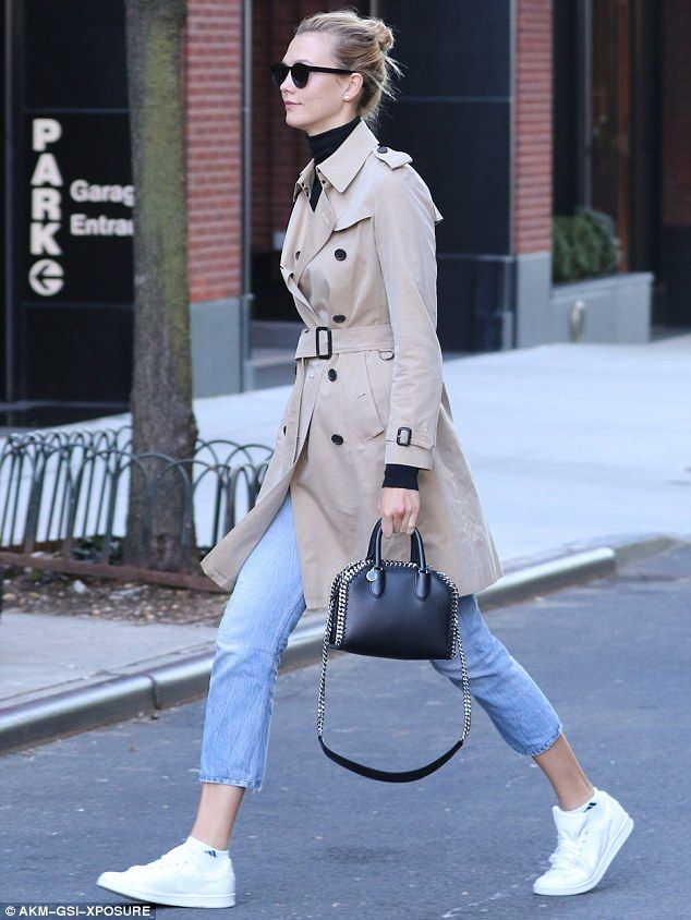 Keeping it simple: Karlie also wore capri jeans, a black turtleneck and white trainers...