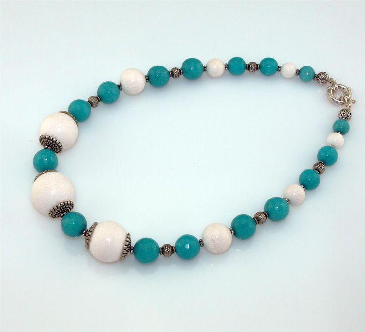 Edelstein-Halskette (Koralle - Jade)