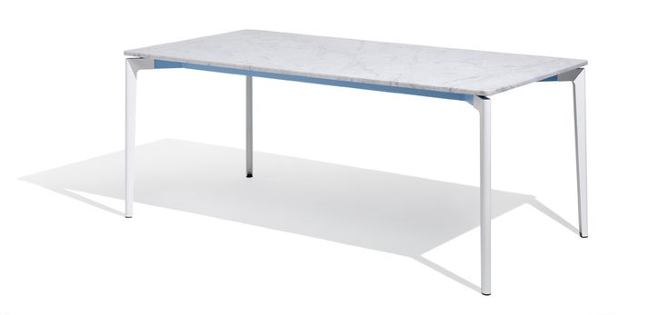 Stromborg Table: The Stromborg Table Collection, designed for indoor or outdoor use, offers clean lines and a broad palette of top materials and paint finishes that complement any environment. The signature X- and Y-shaped aluminum rails are offered in bright colors for a subtle but energetic accent | Knoll