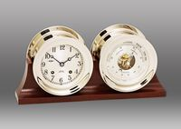 """Look what I found at Chelsea Clock: 4 1/2"""" Ship's Bell Clock & Barometer in Nickel on Double Base"""