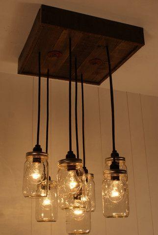 Mason Jar Chandelier - Mason Jar lighting - Upcycled Wood $450