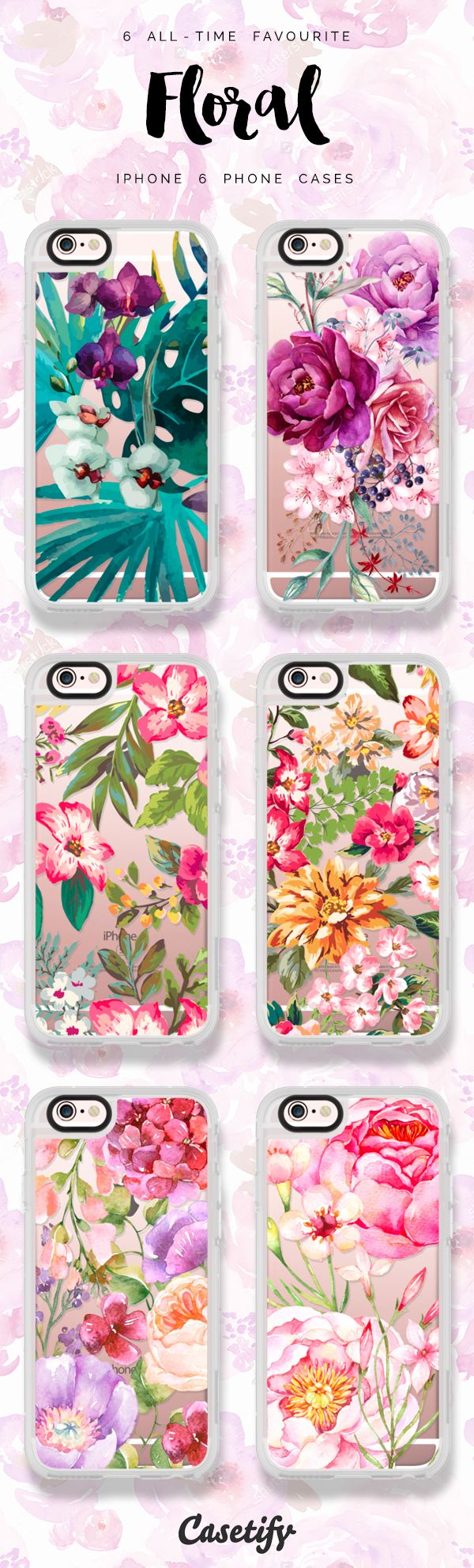 6 all time favourite floral iPhone 6 phone cases | Click through to see more protective iPhone phone case ideas >>> https://www.casetify.com/artworks/epr9mPc1lr #floralprint | @casetify