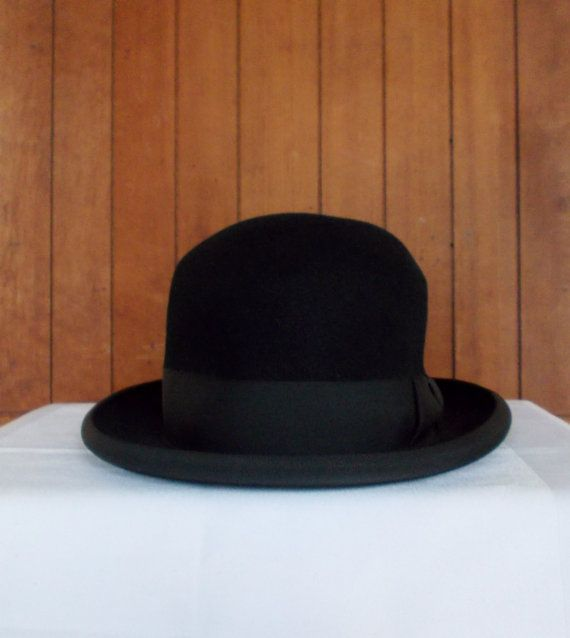 Vintage Black Homburg Hat Moores London England Country Gents