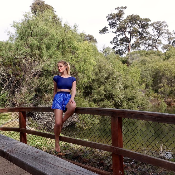 Navy Crop Top Bikini and Blue Swim Skirt by Anna Carla Swimwear. Such a elegant swimwear style. Made from Xtra Life Lycra and with sewn in bra cups and elastic waist band for great support!