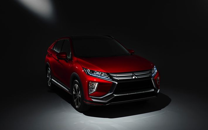 Descargar fondos de pantalla 4k, Mitsubishi Eclipse Cruz, 2018 coches, Todoterrenos, coches japoneses, Mitsubishi
