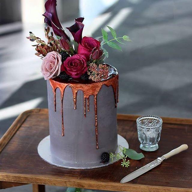 Oooh, that molten copper drip! #wedding #cake