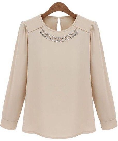 Nude Long Sleeve Necklace Embellished Blouse - Sheinside.com
