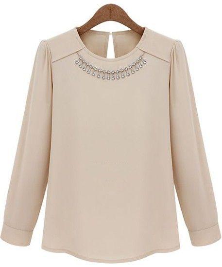 Blusa decorada collar mangas largas-Sheinside