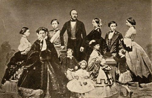 Queen Victoria and Prince Albert photographed with their nine children: