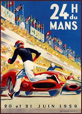 Le Mans 24 Heurs 1959 - Car Races France / Vintage Poster Airline Art Print