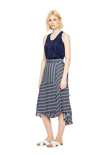 Longer length, stripe skirt