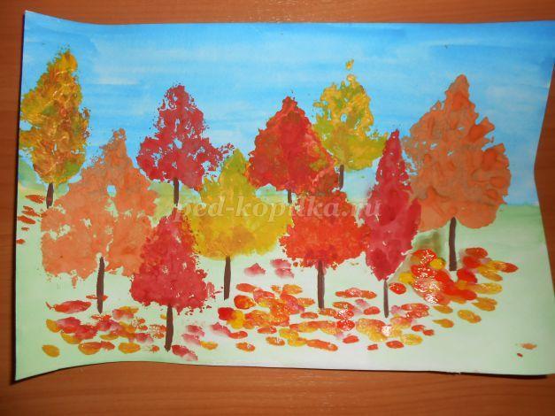 Осенний пейзаж в нетрадиционной технике рисования. Мастер-класс с пошаговыми фото