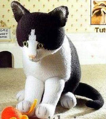 Описание вязания котенка спицами