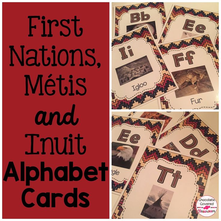Beautiful Alphabet Cards for Teaching Upper Elementary (grades 4, 5, 6) about First Nations, Metis and Inuit Culture, Alberta, Canada