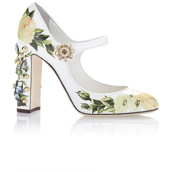 Dolce & Gabbana Floral Mary Jane Pump (€1.295) ❤ liked on Polyvore featuring shoes, pumps, heels, floral, dolce & gabbana, white, floral pumps, white heel pumps, patent leather pumps and white mary jane pumps
