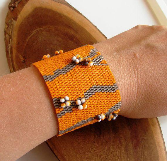 Браслет Оранжевое настроение. Красивый плетеный от Vladbeads