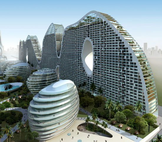 The architecture firm 'Mad Architects' is the designer of fake hills, a housing society that takes the shape of hills, and is aimed to be part of the city of Beihei, China. The buildings have undulated roofs and cuts that maximize the view of the dwellers. The design draws inspiration from nature when it comes to sustainability. Sunlight filters through the structure naturally, making the building energy efficient without the use of electricity.
