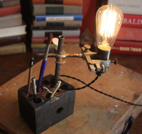 Industrial desk lamp wood desk organizer desk by OBJECTSofINDUSTRY, $105.00