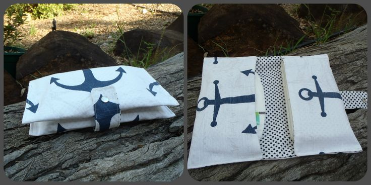 Two pocket nappy & wipes wallet. Anchor. $20