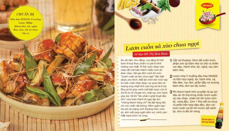 Món xào thắng giải ngày 10/4: Lươn cuốn sả xào chua ngọt từ Đỗ Thị Hoà Bình. Tham gia góp món xào ngon tại www.365monxao.com để có cơ hội trúng nhiều giải thưởng hấp dẫn