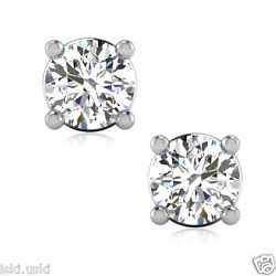 1.05CTW Round Cut Synthetic Diamond Stud Solitaire Earrings Solid 14K White Gold