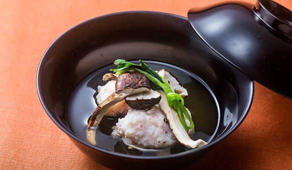 Clear Soup with Shrimp Dumplings and Matsutake