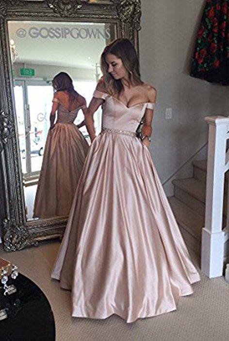 bb1407cb821c Vickyben Damen langes Ab-Schulter Satin Prinzessin Kleid Abendkleid  Ballkleid Brautjungfer kleid Party kleid  Amazon.de  Bekleidung
