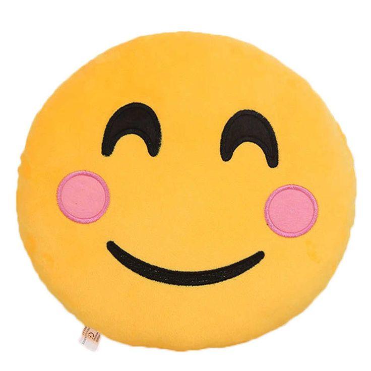 Blushing Emoji 😊 Large Pillow