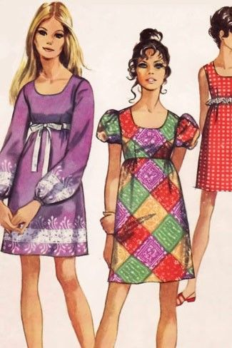 Peasant Dresses - I had this pattern, I made the purple one with a border print, too. I was 12!