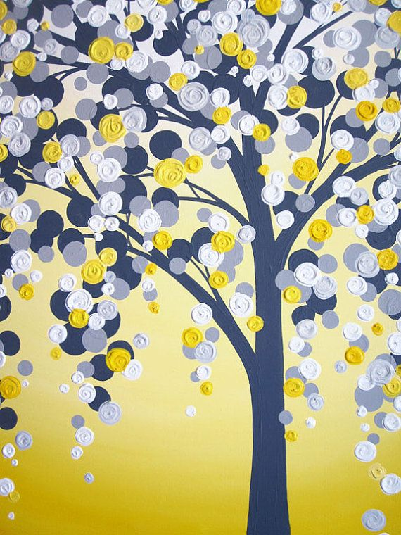 Yellow and Grey Art, Textured Tree, Acrylic Painting on Canvas, 18x24 MADE TO ORDER via Etsy