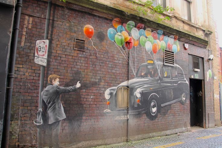 "Street Art Glasgow - ""TAXI BALLOONS"", autor: Bobby McNamara"