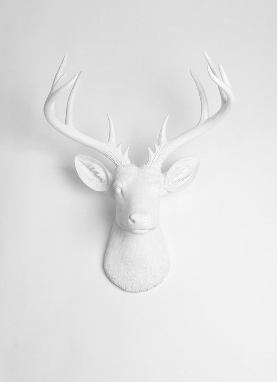 £66.76 | White Faux Taxidermy Deer Head - The XL Templeton - White Faux Deer Head- White Deer Antlers Mounted- Deer Wall Art  Resin Animal Heads