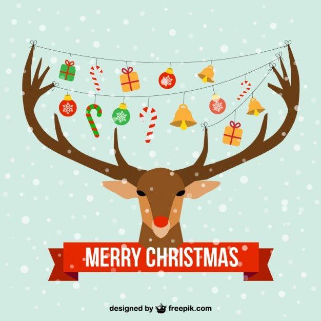 Christmas card with reindeer head
