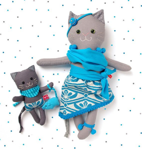 12 Cat Mum with Baby in Babywrap  cat plushie cat softie by MiaZzz
