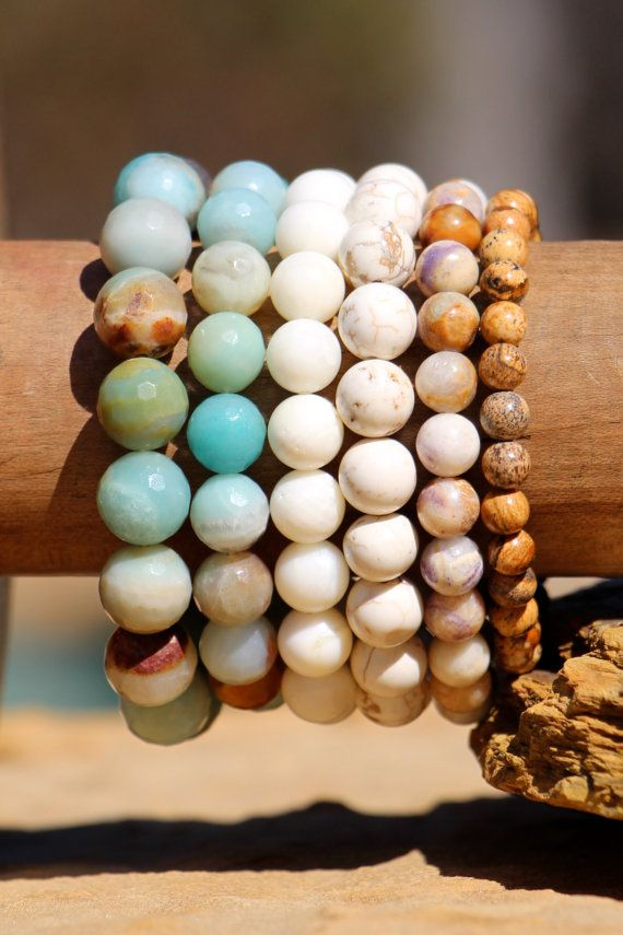 Amazoniet Armband Set Beachy Stretch armbanden Boho Chic